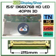 "15.6"" 1366x768 HD LED 40pin 3D"