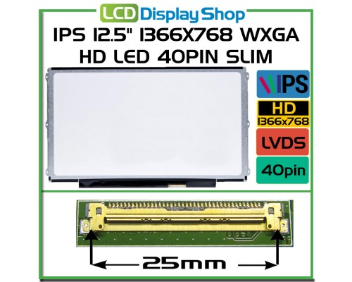 "12,5 LP125WH2-SLB1 , LP125WH2 SL B1 laptop displej - IPS 12.5"" 1366x768 WXGA HD LED 40pin Slim"