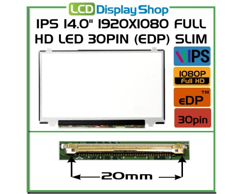 "HP COMPAQ SPS 711939-391 Laptop Displej - IPS 14.0"" 1920x1080 Full HD LED 30pin (eDP) Slim"