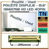 """Použité displeje - 15.6"""" 1366x768 HD LED 40pin NORMAL"""